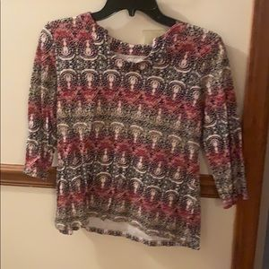 Kim Rogers, size PS, printed top 3/4 sleeve